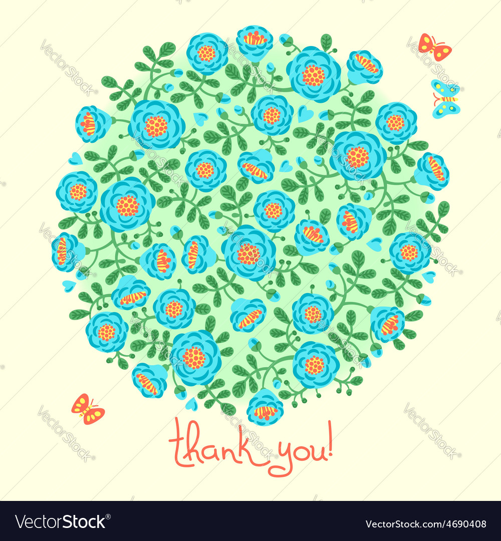 Card with floral bouquet and text thank you vector | Price: 1 Credit (USD $1)