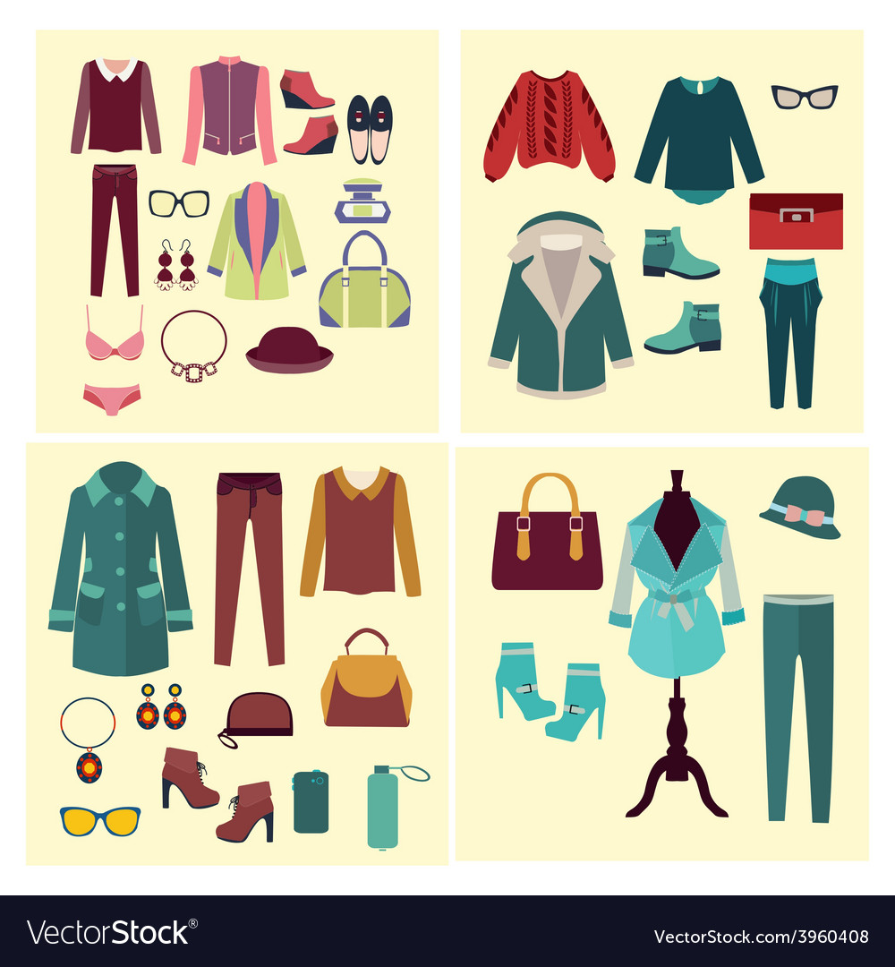 Fashion set flat fashion clothes and accessories vector | Price: 1 Credit (USD $1)