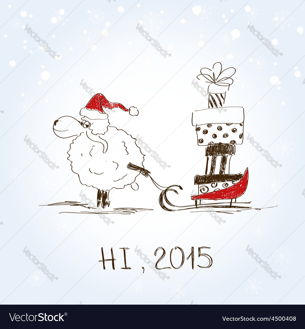 Funny sketching sheep - symbol of the new year vector | Price: 1 Credit (USD $1)