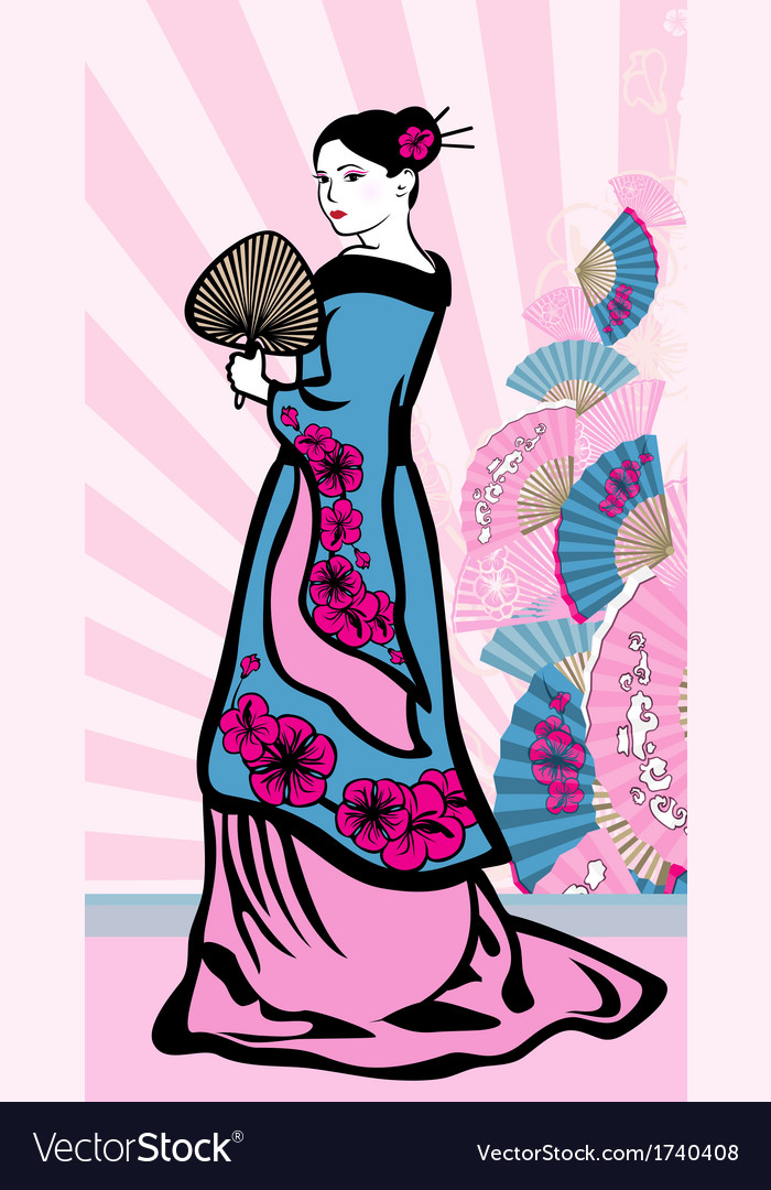 Japanese vertical background geisha vector | Price: 1 Credit (USD $1)