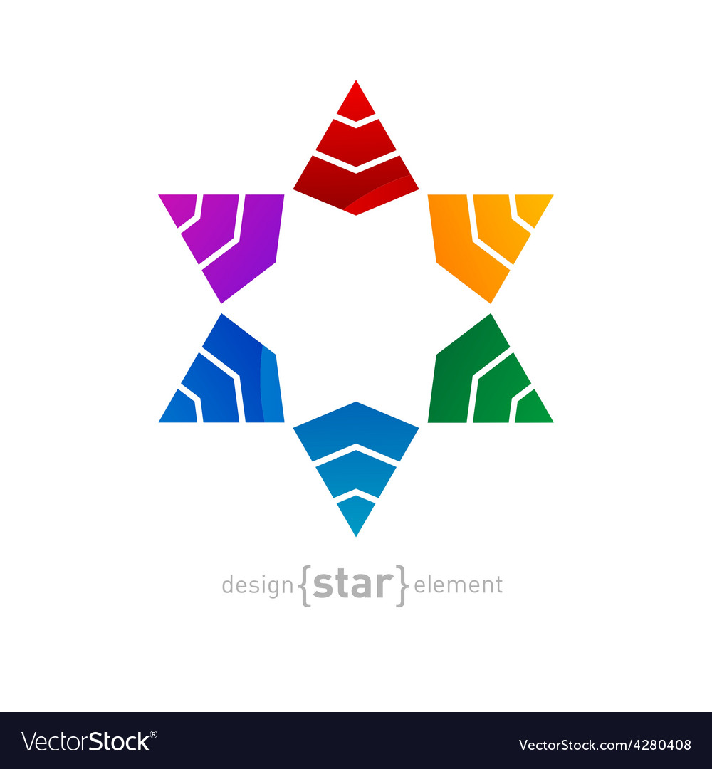 Original colorful star of david on white ba vector | Price: 1 Credit (USD $1)