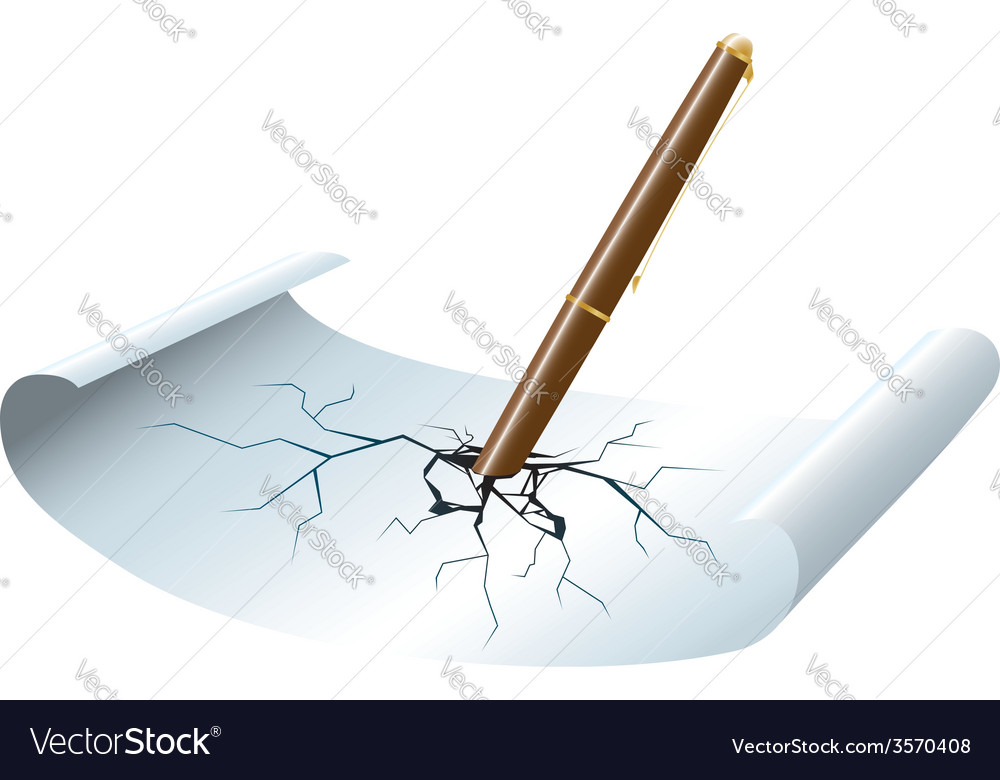 Pen stickied to the paper vector | Price: 1 Credit (USD $1)