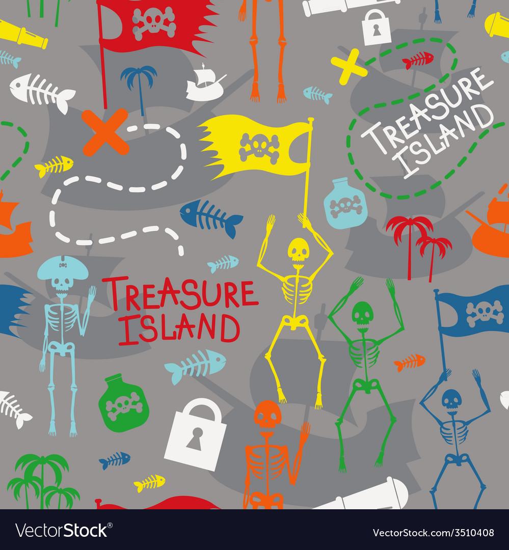 Pirate island color seamless print vector   Price: 1 Credit (USD $1)