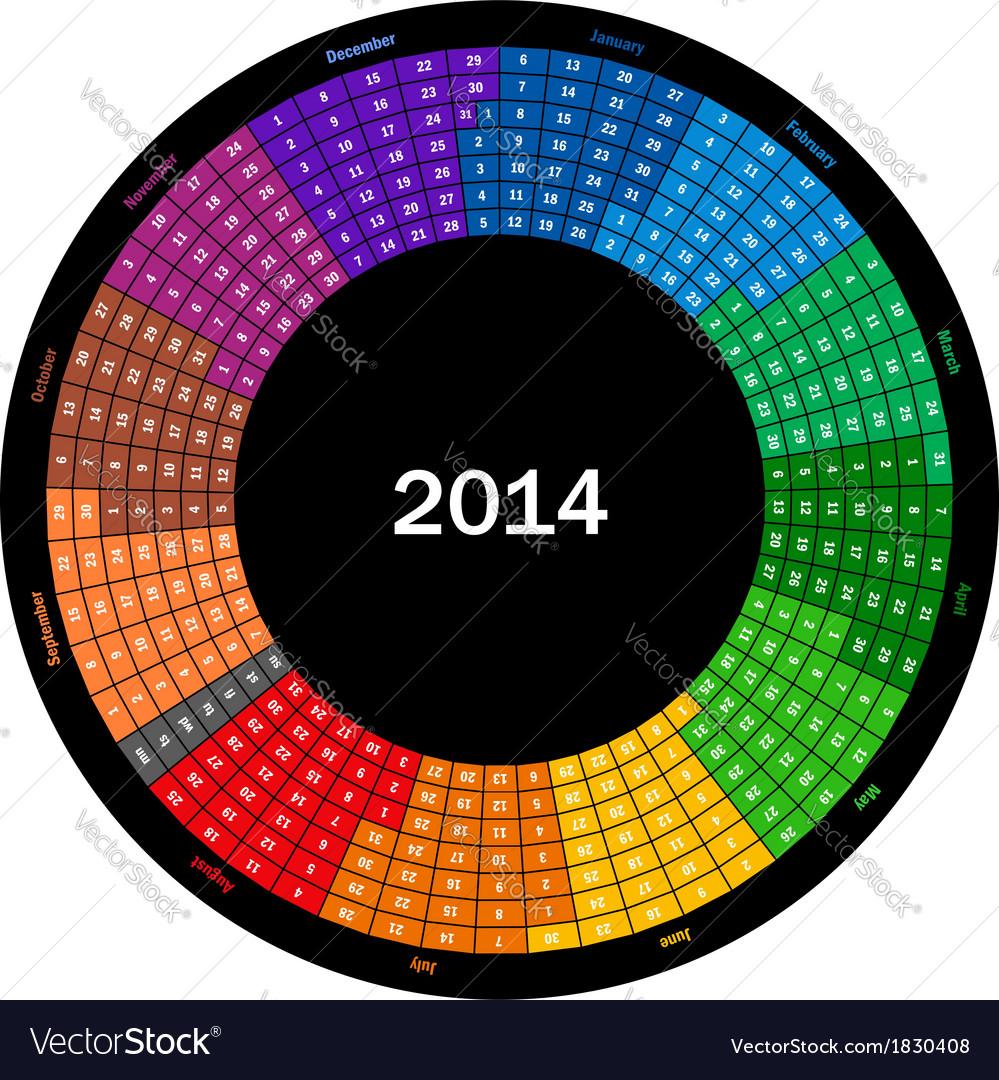 Round calendar 2014 vector | Price: 1 Credit (USD $1)