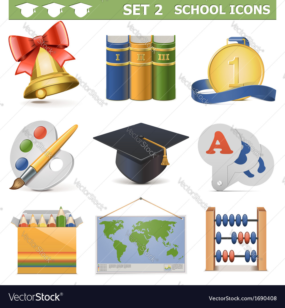 School icons set 2 vector | Price: 1 Credit (USD $1)
