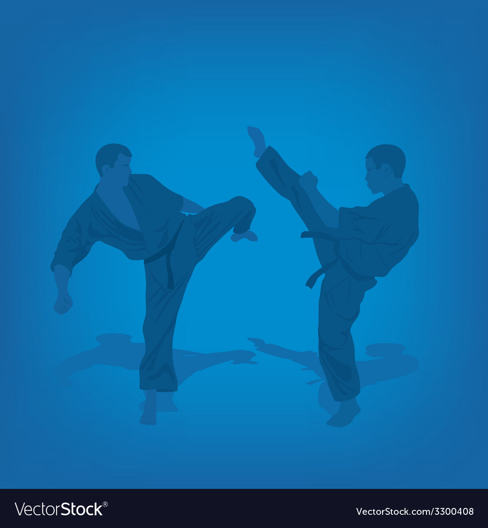 Two men are engaged in karate on a blue background vector | Price: 1 Credit (USD $1)