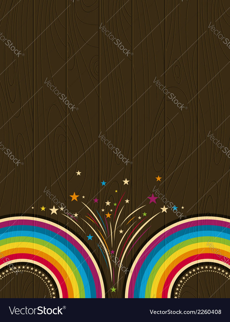 Wooden background with rainbow vector | Price: 1 Credit (USD $1)