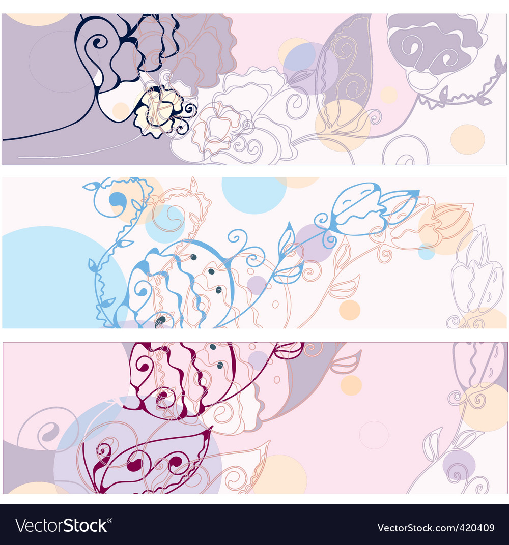 Banners floral vector | Price: 1 Credit (USD $1)