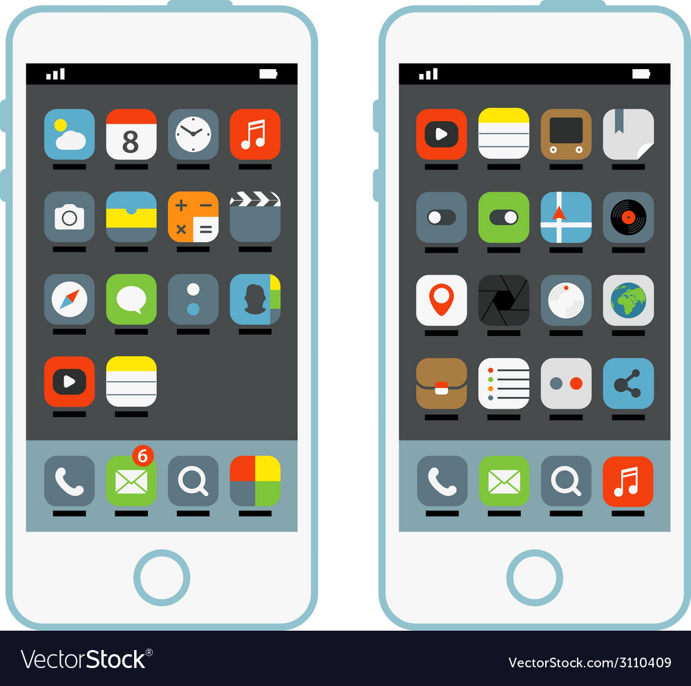 Modern smartphone with different interface element vector   Price: 1 Credit (USD $1)