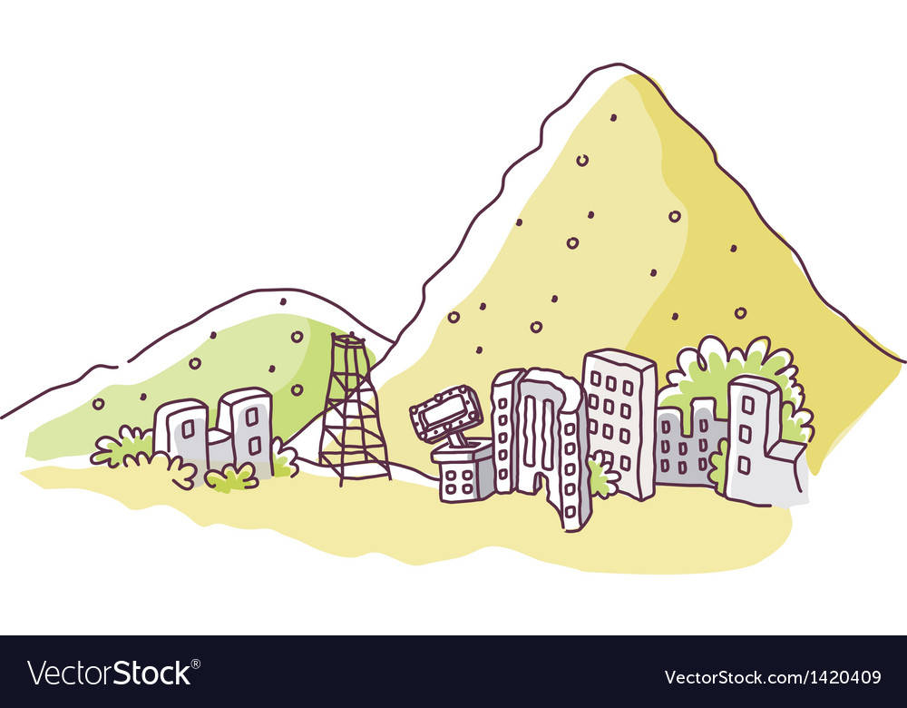 Mountain edge city vector | Price: 1 Credit (USD $1)