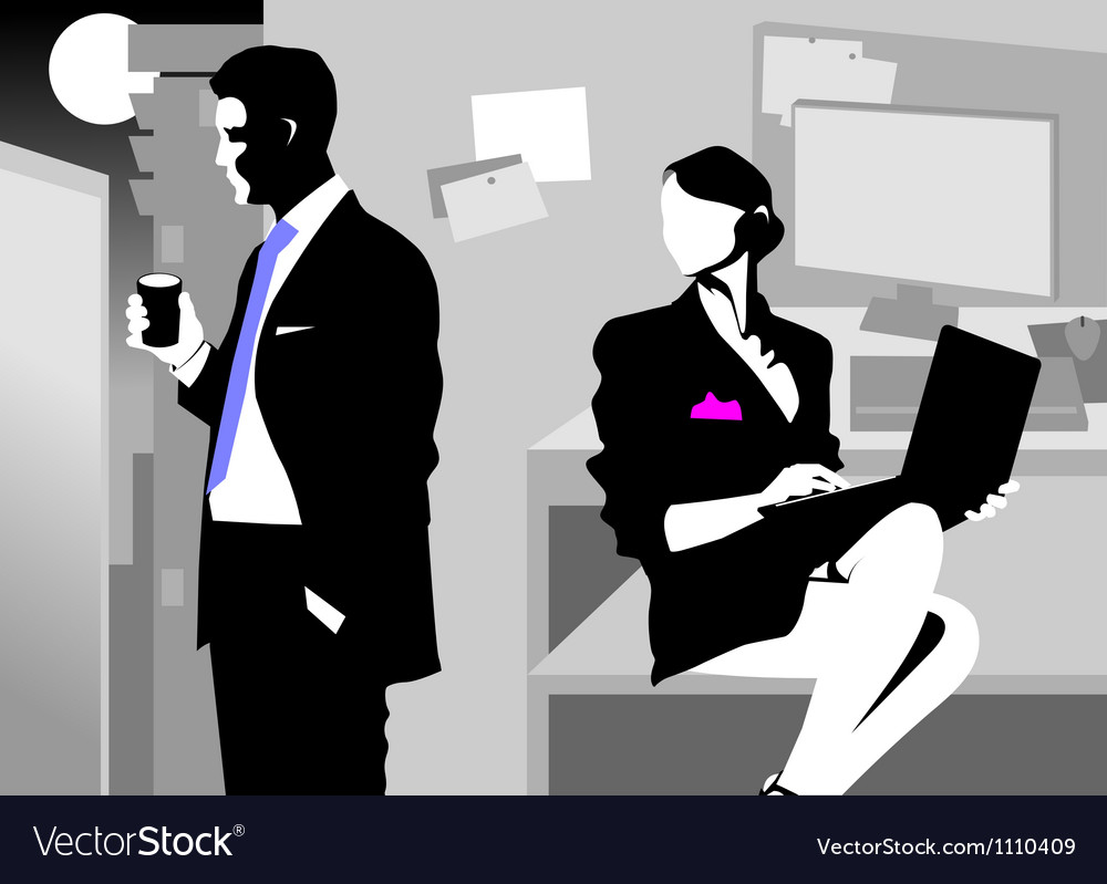 Night meeting in the office vector | Price: 1 Credit (USD $1)