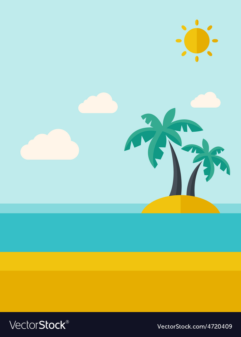 Tropical sea island with palm trees vector | Price: 1 Credit (USD $1)