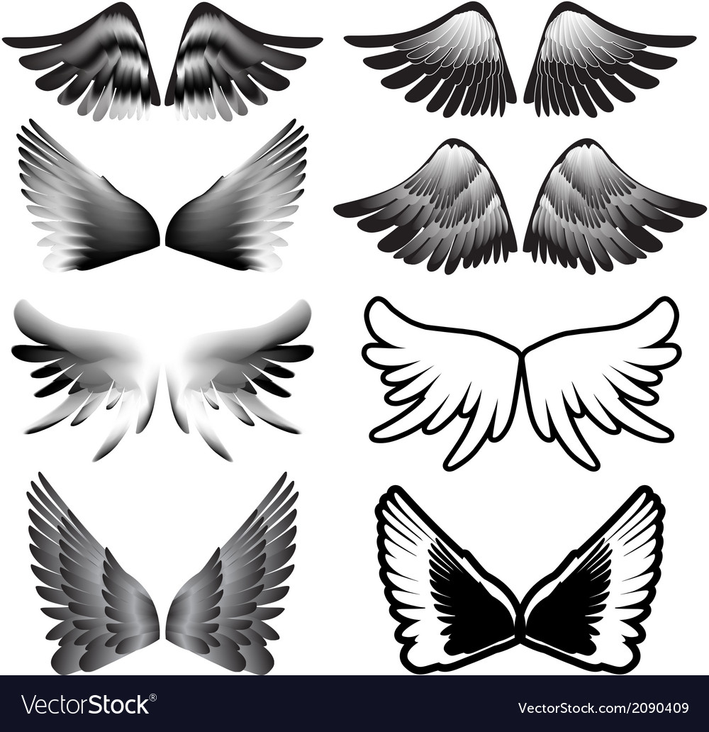 Wings tattoo silhouette vector | Price: 1 Credit (USD $1)
