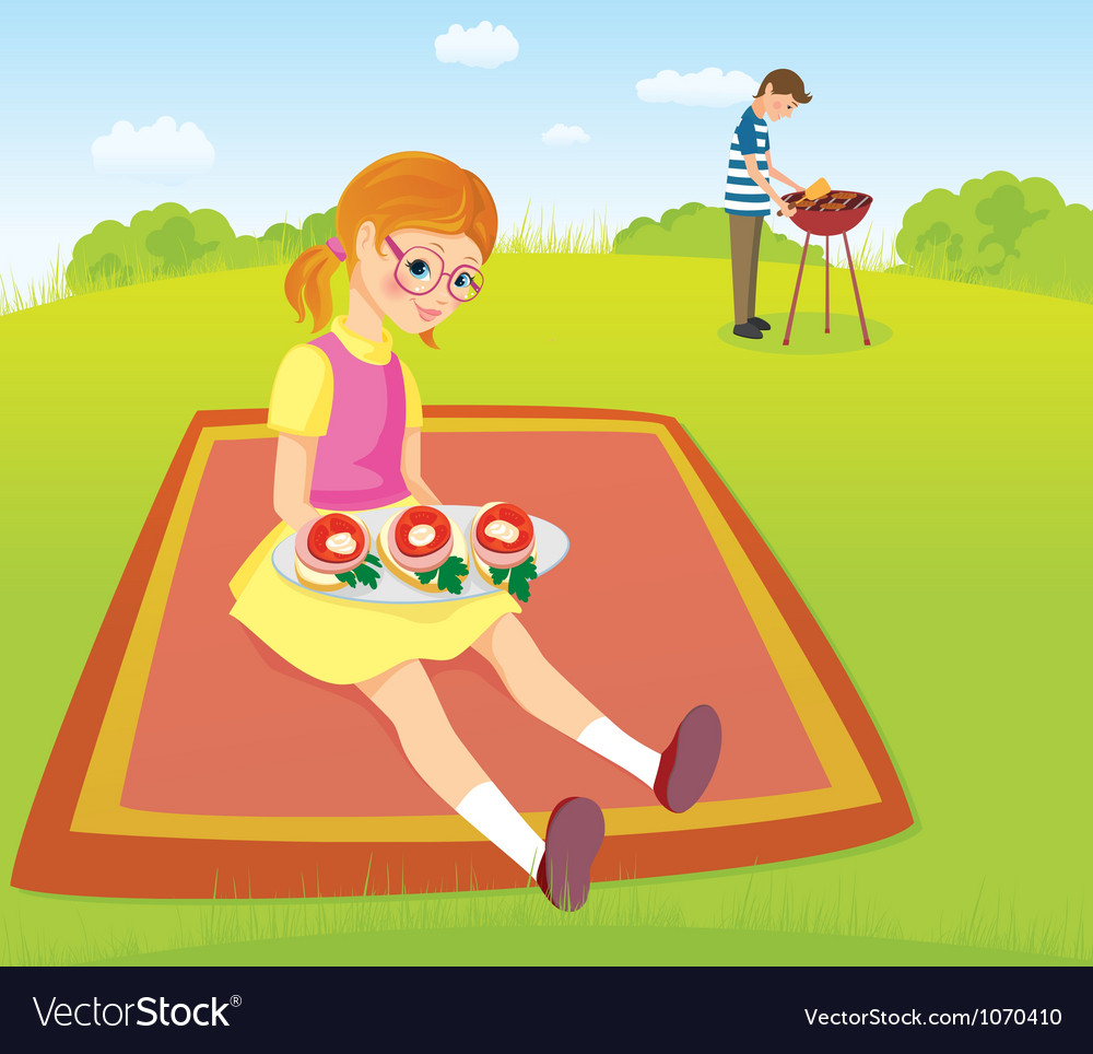 At the picnic vector | Price: 3 Credit (USD $3)