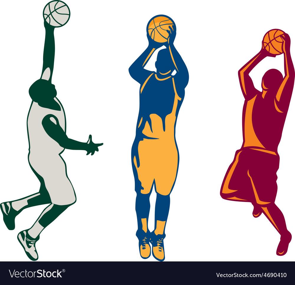 Basketball player shooting retro collection vector | Price: 1 Credit (USD $1)