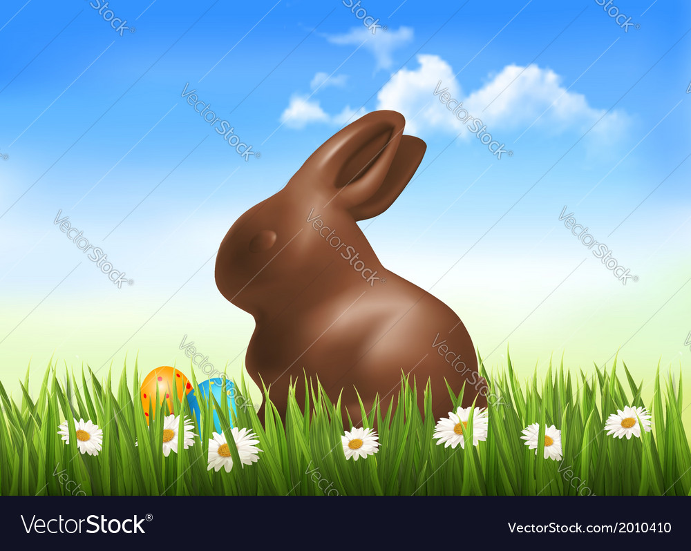 Chocolate bunny with easter eggs in grass vector | Price: 1 Credit (USD $1)