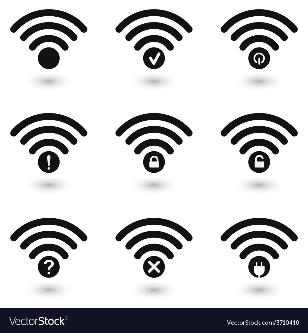 Creative wifi icons set vector | Price: 1 Credit (USD $1)