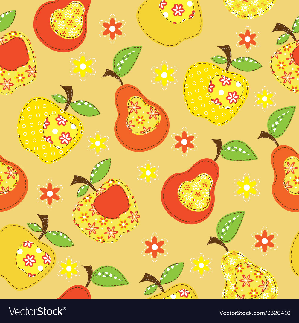 Fruit patchwork seamless pattern vector | Price: 1 Credit (USD $1)