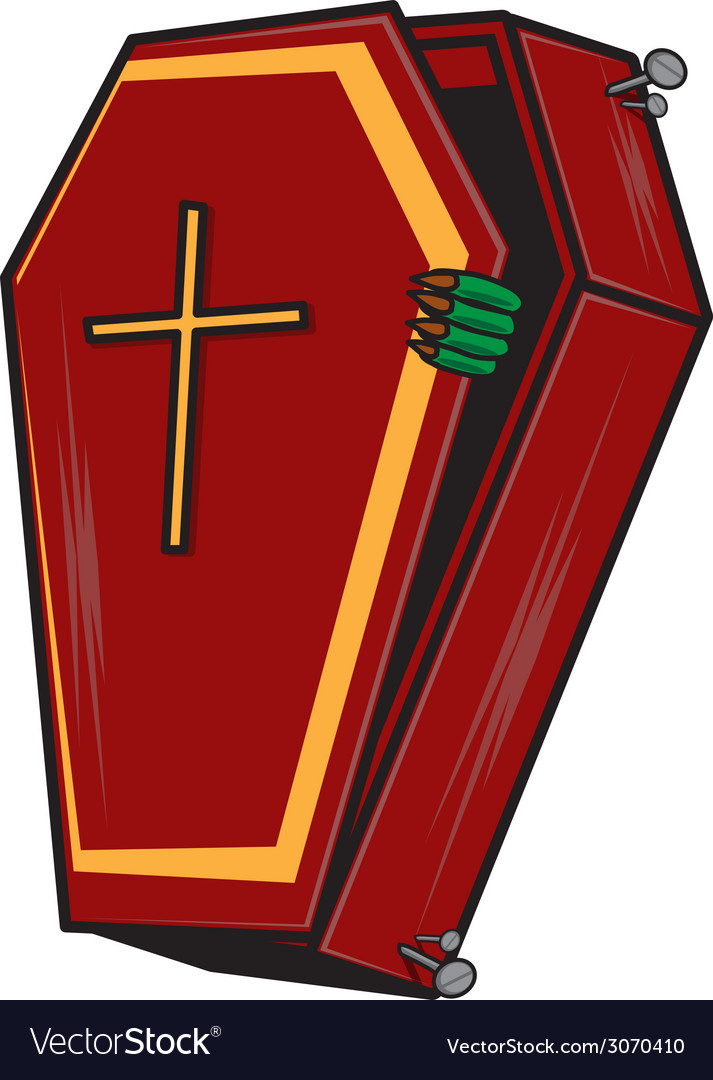 Halloween cartoon coffin isolated on white vector | Price: 1 Credit (USD $1)