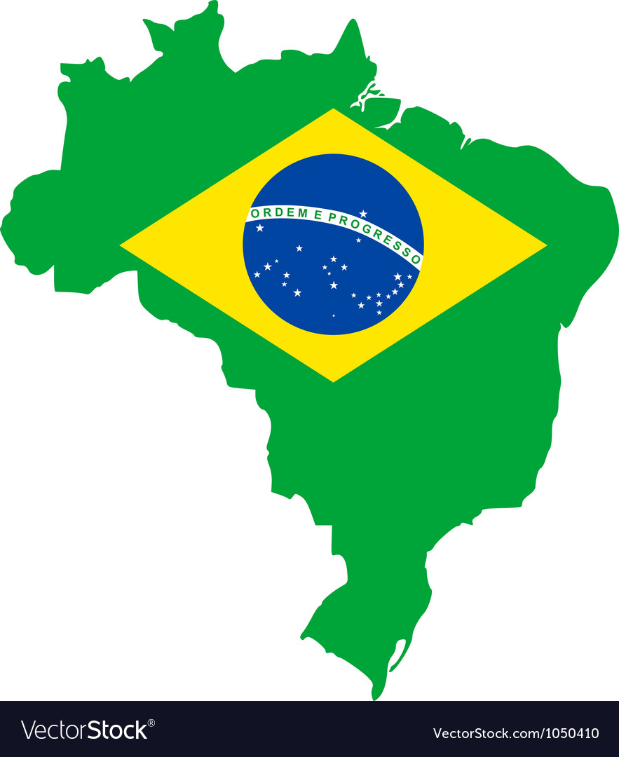 Map and flag of brazil vector | Price: 1 Credit (USD $1)