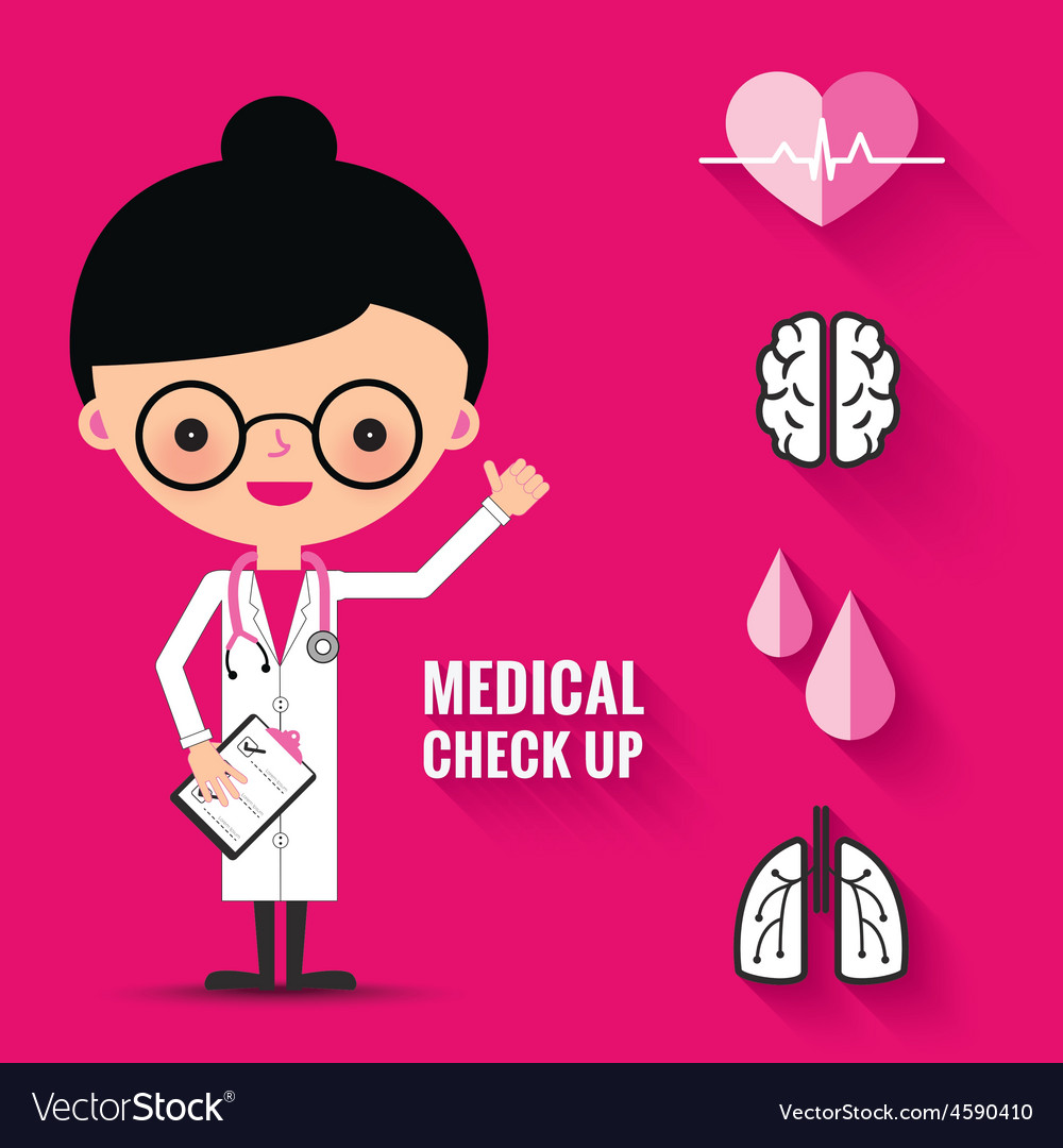Medical check up with woman doctor characters vector   Price: 1 Credit (USD $1)