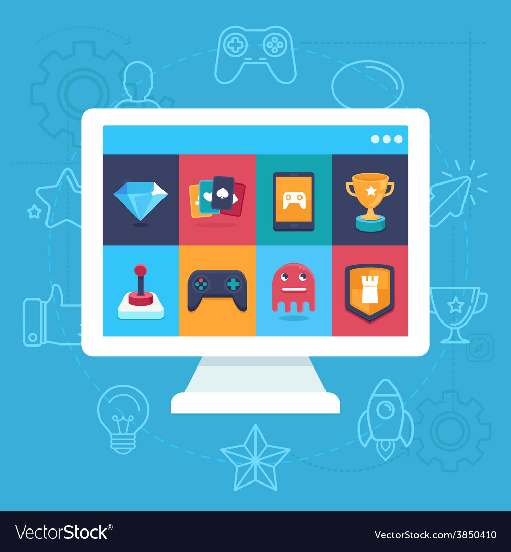 Online and mobile game icons vector | Price: 1 Credit (USD $1)
