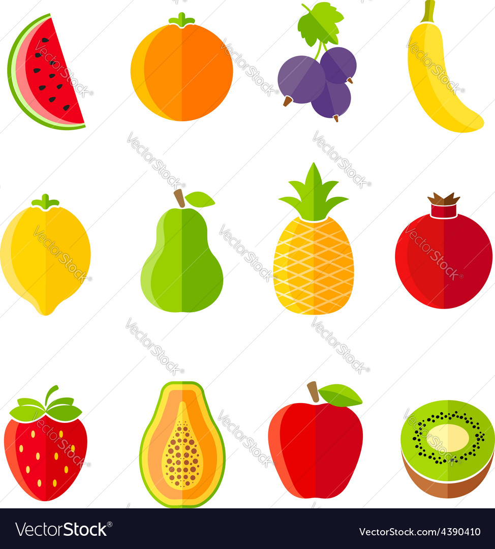 Organic fresh fruits and berries icons set vector | Price: 1 Credit (USD $1)