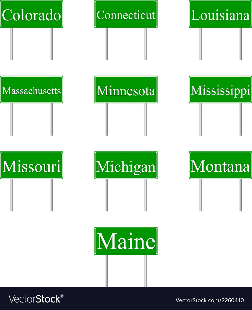 Set road signs of usa states vector | Price: 1 Credit (USD $1)