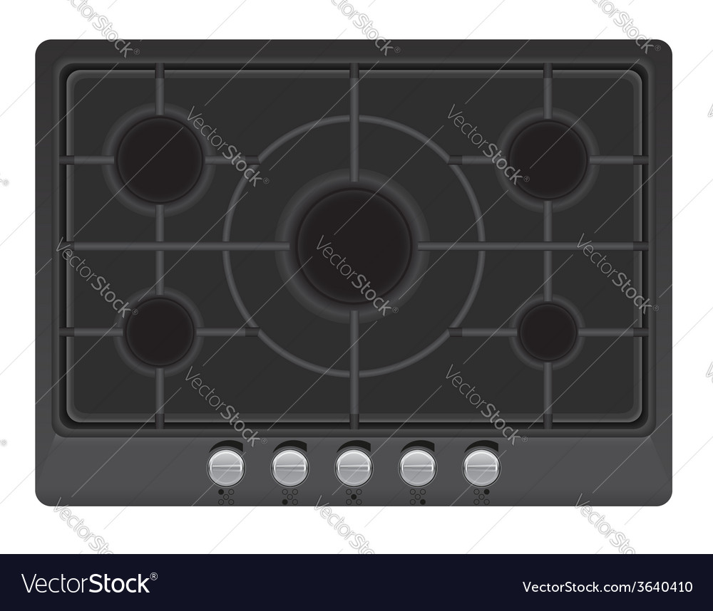 Surface for gas stove 01 vector | Price: 1 Credit (USD $1)