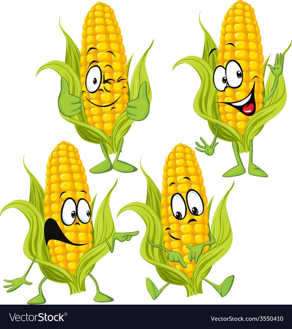 Sweet corn cartoon with hands vector   Price: 1 Credit (USD $1)