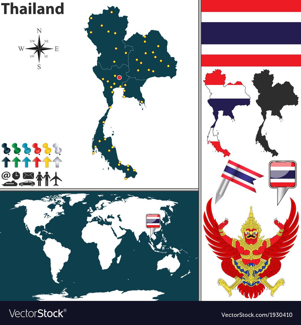 Thailand map world vector | Price: 1 Credit (USD $1)