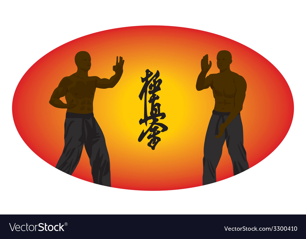 Two men show karate on an orange background vector | Price: 1 Credit (USD $1)