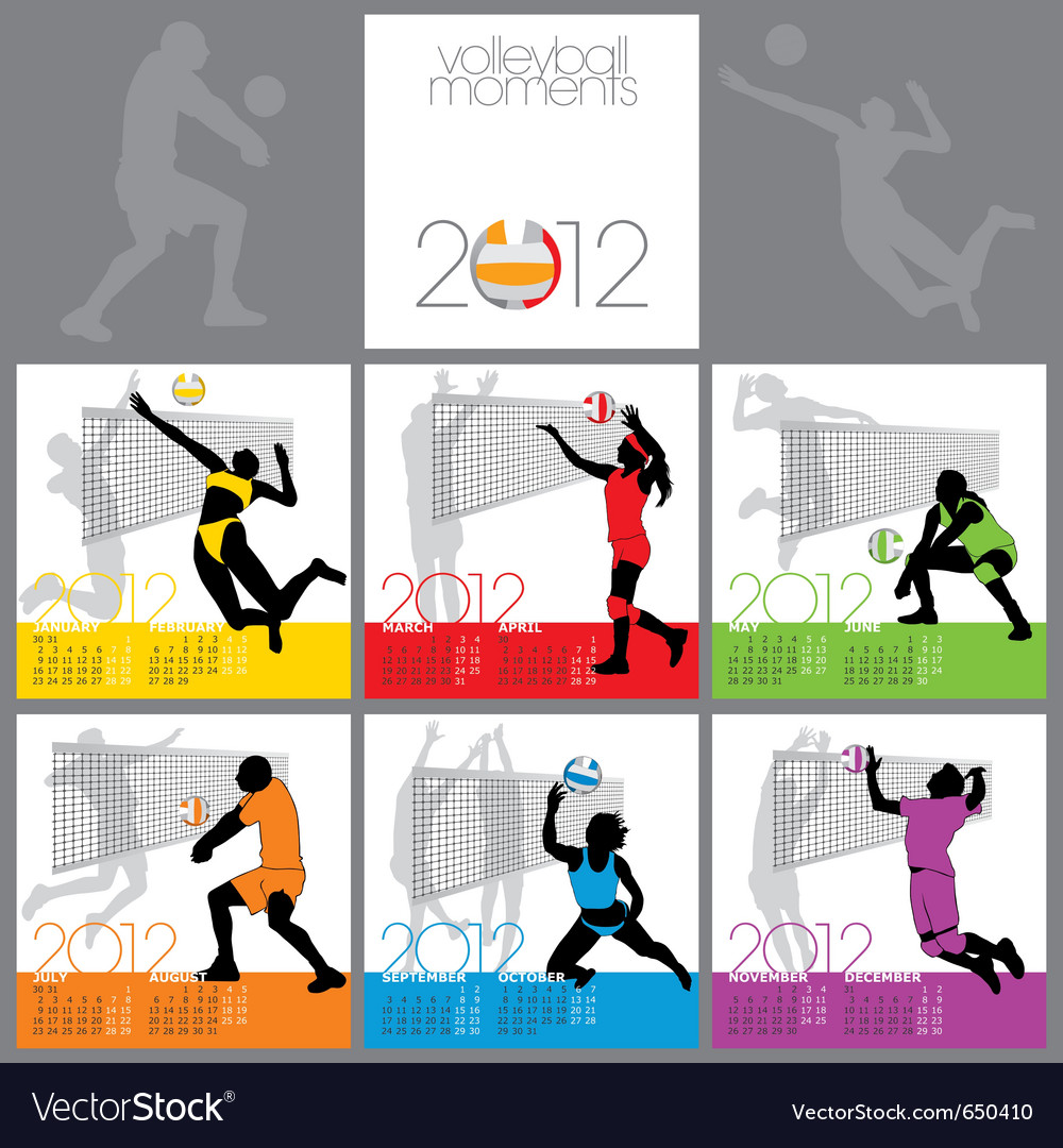 Volleyball moments 2012 calendar template vector | Price: 1 Credit (USD $1)