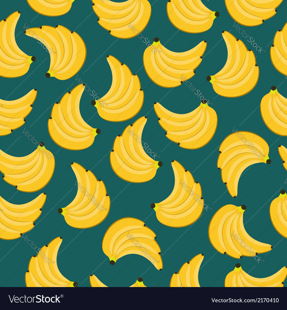 Yellow bananas branches seamless pattern vector | Price: 1 Credit (USD $1)