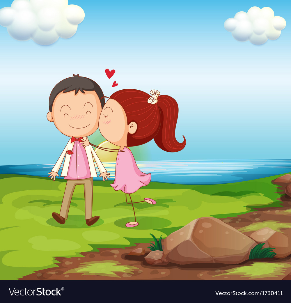 A sweet couple near the river vector | Price: 1 Credit (USD $1)