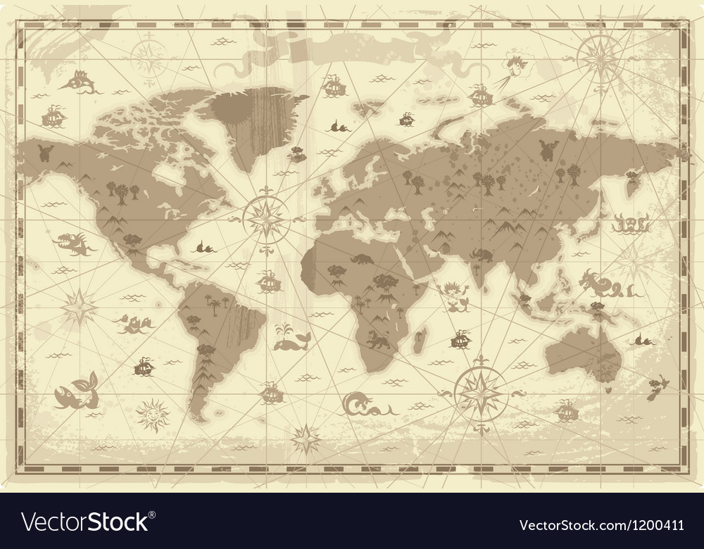 Ancient world map vector | Price: 1 Credit (USD $1)