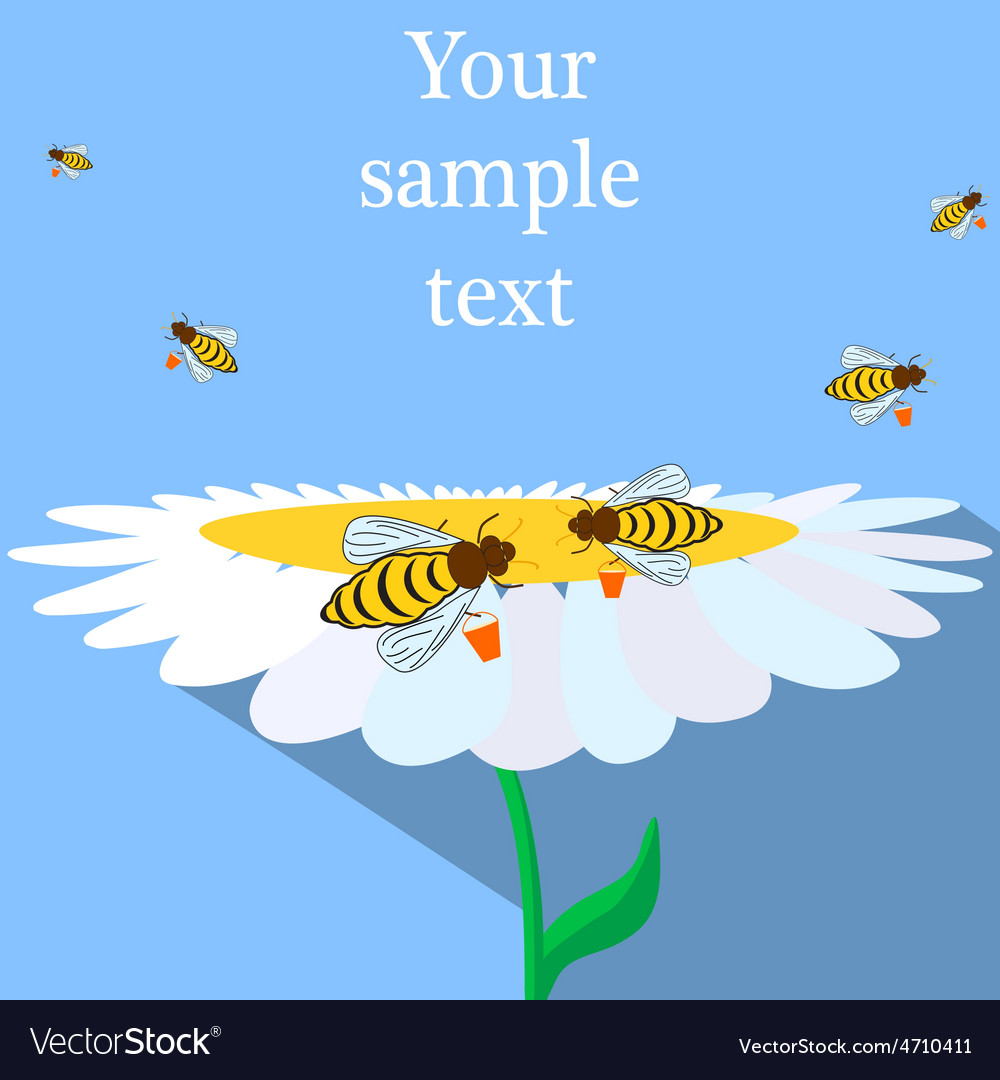 Bees and flower vector | Price: 1 Credit (USD $1)