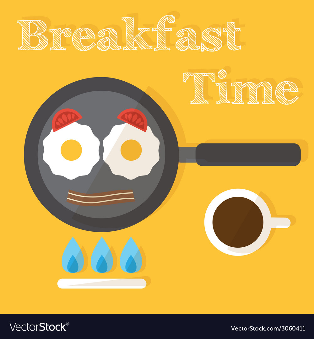 Breakfast time fried eggs making process preparing vector | Price: 1 Credit (USD $1)