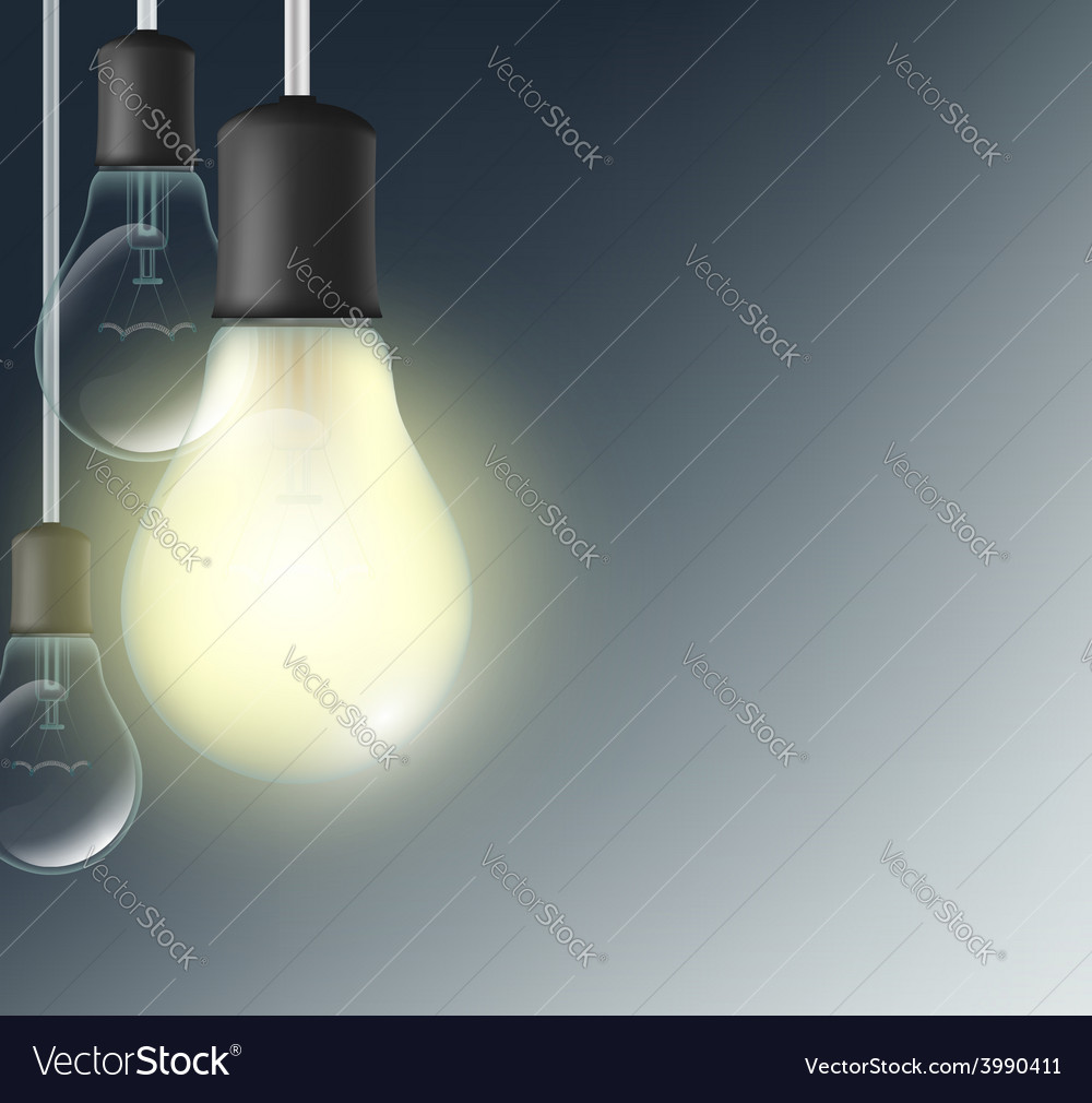 Incandescent lamp on a dark blue background vector | Price: 1 Credit (USD $1)