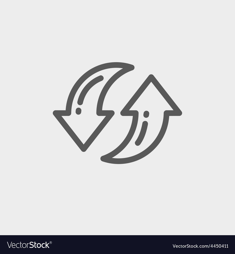 Pair of arrow thin line icon vector | Price: 1 Credit (USD $1)