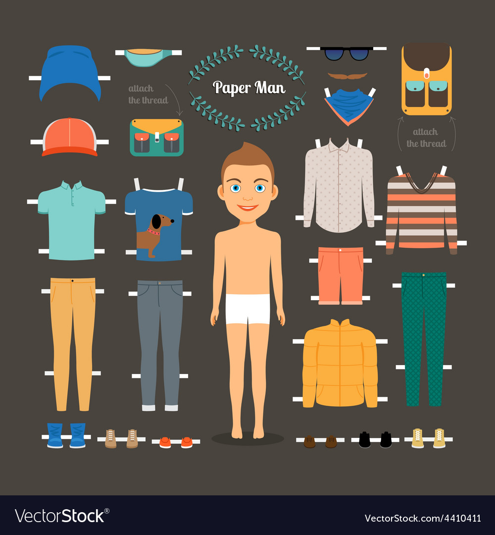 Paper doll man template vector | Price: 1 Credit (USD $1)