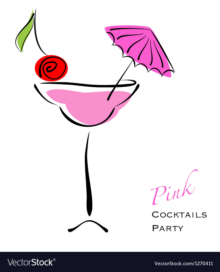 Pink cocktail party vector | Price: 1 Credit (USD $1)