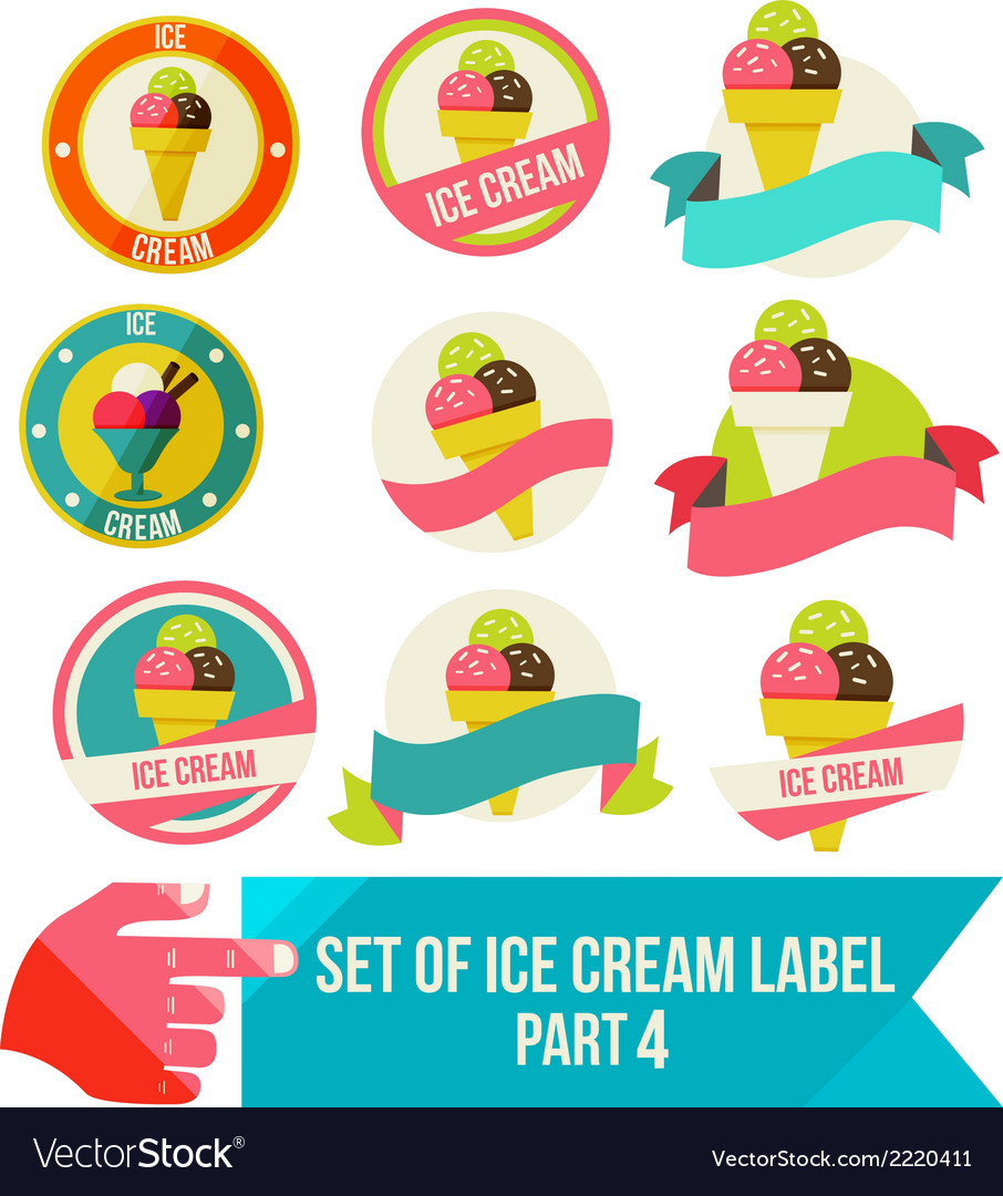 Set of modern ice cream shop badges and labels vector | Price: 1 Credit (USD $1)
