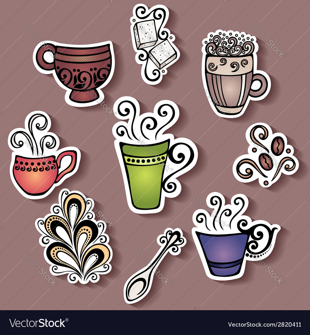 Set of stickers with ornamental coffee cups vector | Price: 1 Credit (USD $1)
