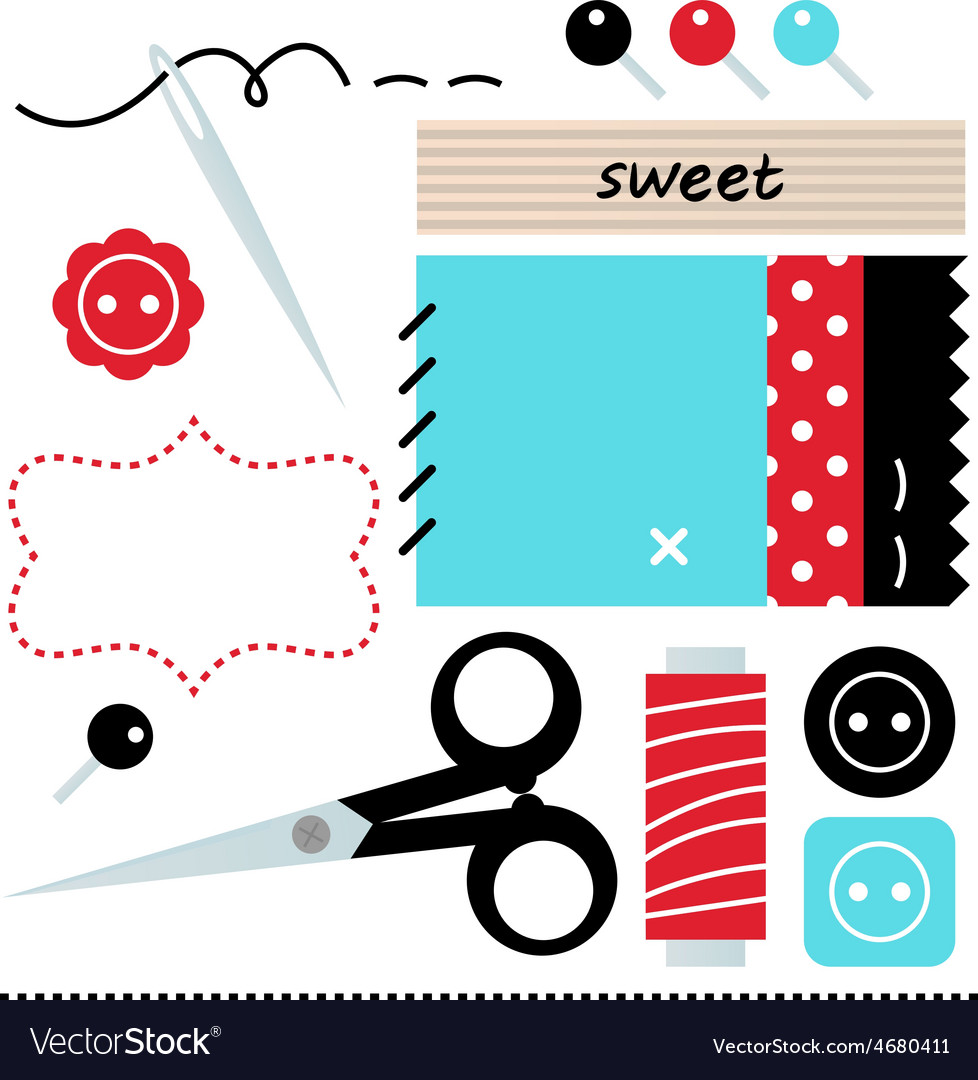 Sewing set isolated on white - blue and red vector | Price: 1 Credit (USD $1)