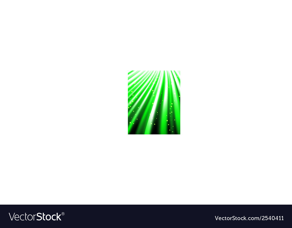 Stars are falling on the background of green rays vector | Price: 1 Credit (USD $1)