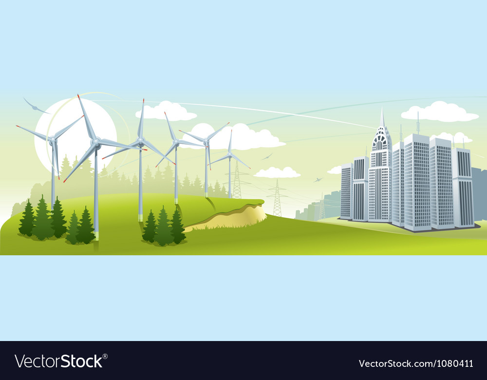 Wind turbine park vector | Price: 3 Credit (USD $3)