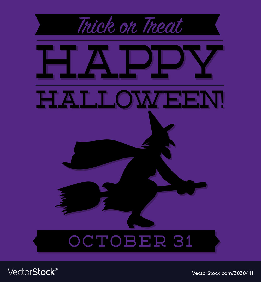 Witch typographic halloween card in format vector | Price: 1 Credit (USD $1)