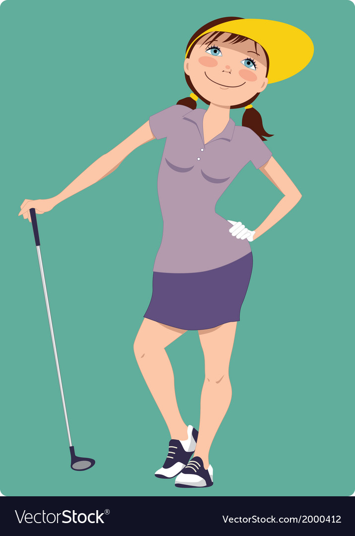 Cute cartoon golfer girl vector | Price: 1 Credit (USD $1)