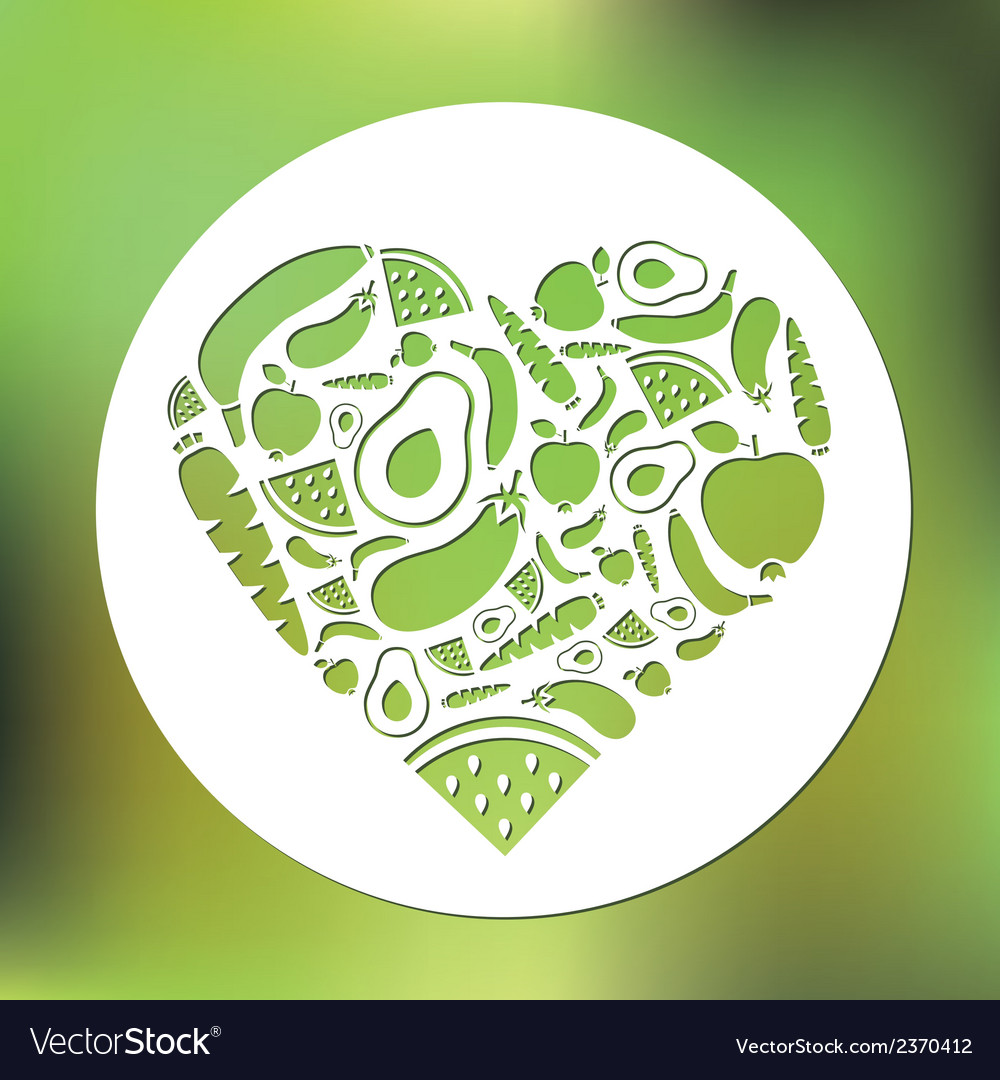 Fruits and vegetables heart in circle vector | Price: 1 Credit (USD $1)